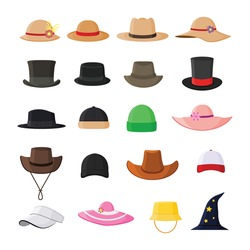 Set of hats in various model stylish, vintage and modern flat vector illustration