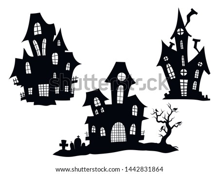 Set of haunted houses for Halloween. Collection of castles with monsters. Black house sieves. Vector illustration for kids. Tattoo. Foto d'archivio ©
