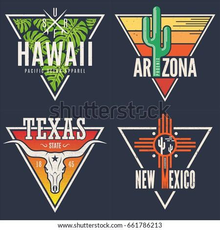 Set of Hawaii Arizona Texas New Mexico tee prints. T-shirt designs labels typography.Vector illustration.