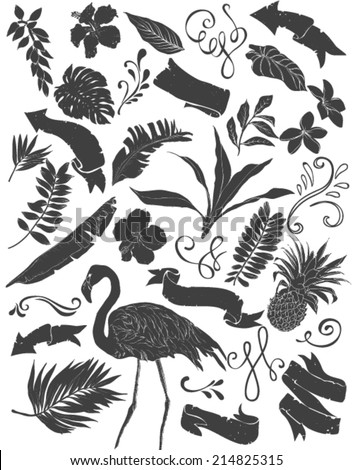 set of hawaii collection silhouettes isolated on white background