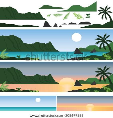 set of hawaii island and beach