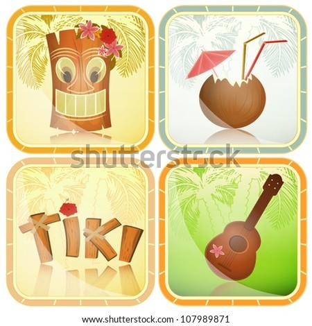 Set of Hawaiian icons - tiki, ukulele, hibiscus - vector illustration