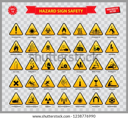 set of hazard sign safety (general warning, laser radiation, biohazard,   oxidising, flammable materials, explotion risk, toxic, corrosive, high   voltage, battery hazard, cutter, high temperature) stock photo