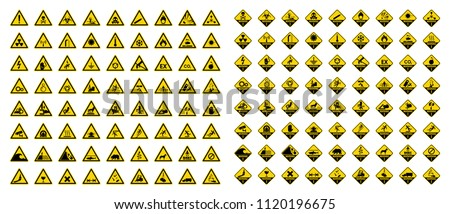 Set of hazard warning sign. Symbol, illustration