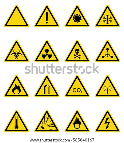 Set of hazard warning sign. Vector, illustration