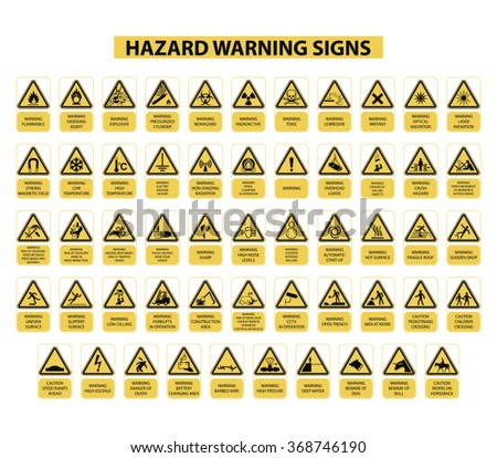 set of hazard warning signs on