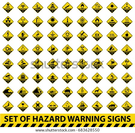 Set of hazard warning signs. Symbol, illustration