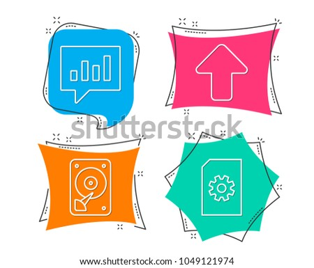 Set of Hdd, Analytical chat and Upload icons. File management sign. Hard disk, Communication speech bubble, Load arrowhead. Doc with cogwheel.  Flat geometric colored tags. Vivid banners. Vector