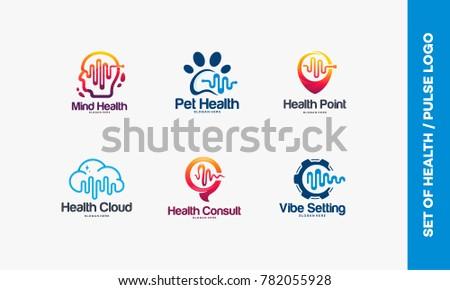 Set of Head Health, Brain Health symbol, Animal, Health Point logo, Cloud logo, Health Consult symbol, Vibe Setting designs vector