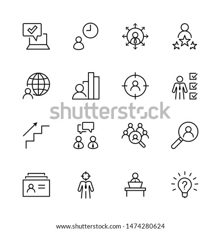 Set of Head Hunting Related Vector Line Icons. Contains such Icons as Career growth, Bulb, Candidate, Search, CV, Card Index, Outsource and more. Editable Stroke. 32x32 Pixel Perfect