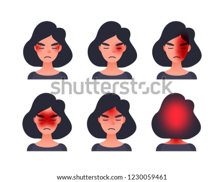 Set of headache types on different area of patient head. Woman with tession cluster and other head types of migraine.