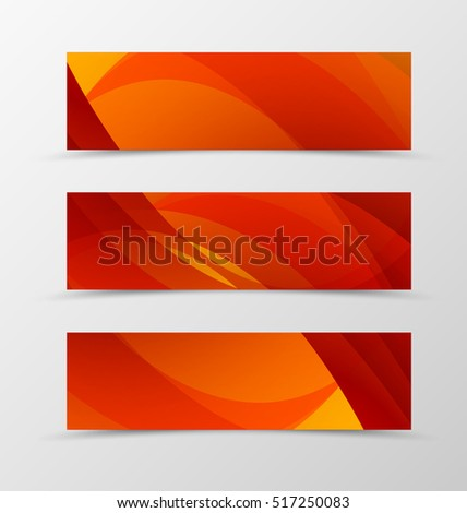 Set of header banner dynamic design with red and orange lines in futuristic style. Vector illustration