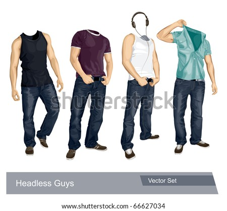 Set of headless guys isolated on white. Vector EPS 10 illustration.