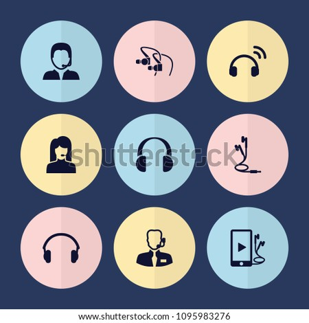 Set of 9 headset filled icons such as phone and earphones, earphones, support, help support, headset