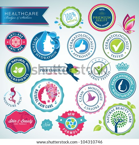 Set of health care badges and stickers - stock vector