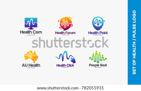 Set of Health Computer logo, Health Consult logo symbol, Health Point, Australian Pulse, Click Pulse logo, People Care designs vector