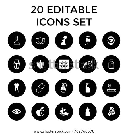 Set of 20 health filled and outline icons such as spa stones, shower, cleanser, waist fitness, apple, tooth, eye, soap, pepper, hand holding heart, drop counter