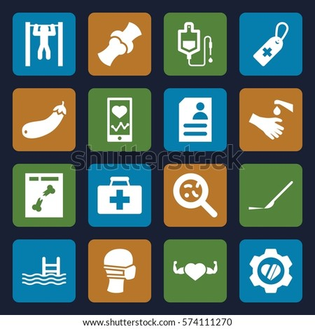 set of 16 health filled icons