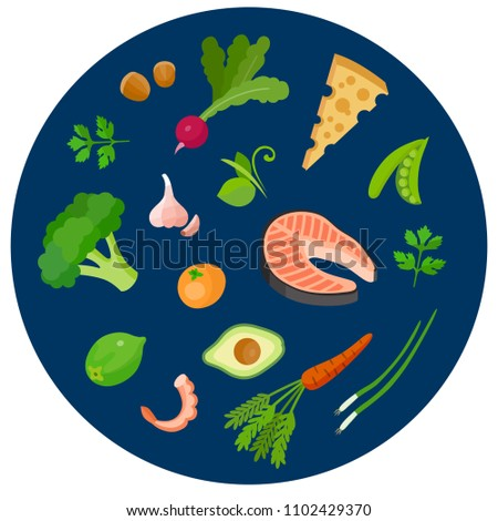 Set of health food icons in a flat style. Vegetables and fruit #1102429370