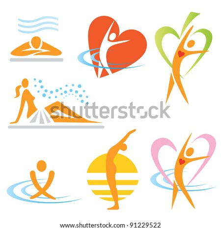 Set of health sauna spa icons Vector illustration.
