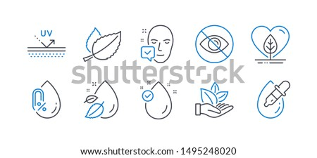 Set of Healthcare icons, such as Local grown, Face accepted, Uv protection, Not looking, Mint leaves, Organic product, Water drop, No alcohol, Vitamin e, Eye drops line icons. Vector Foto stock ©