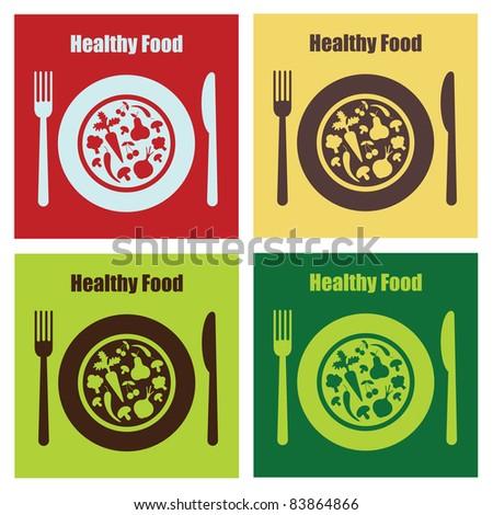 set of healthy food cards. vector illustration