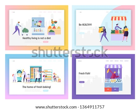 Set of Healthy Food Landing Page Templates. People Characters Produce and Sale in Store Various Ecological Organic Products as Vegetable, Fruits, Fish, Bakery, Concept Cartoon Flat Vector Illustration