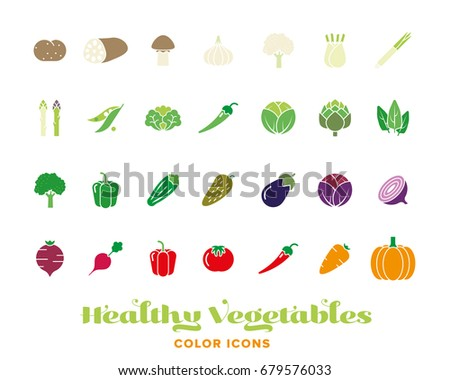 Set of 28 healthy vegetables color icons