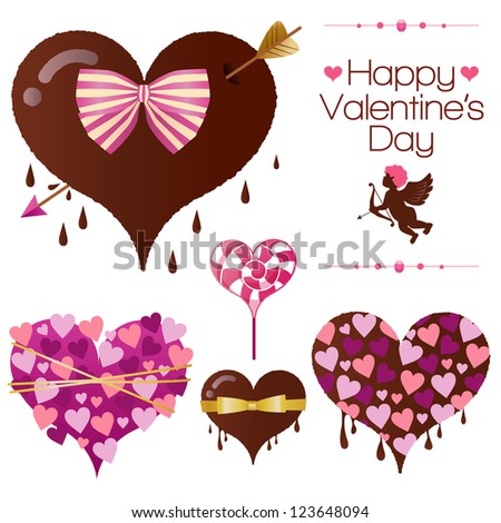 Set of heart candy for Valentine's Day for Valentine's Day. Vector EPS10 file. Gradients, transparency used.
