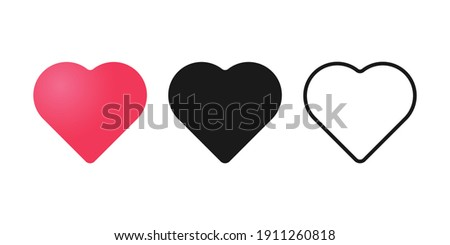 Set of Heart icon vector illustration template. Heart icon design collection. Love vector design isolated on white background. Love vector icon flat design for website, symbol, logo, sign, app, UI.