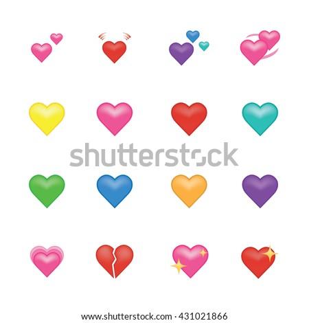 Set of heart  icon vector isolated on white background. Emoji vector. Love smile icon set. Emoticon icon web.