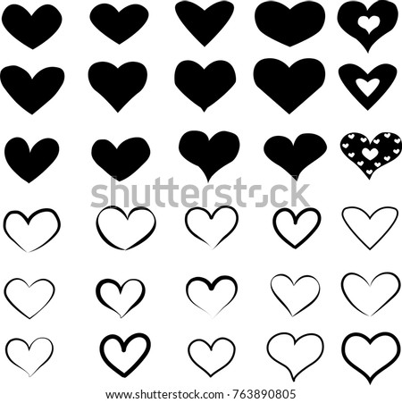 Set of Heart Icons in black. Vector Illustration