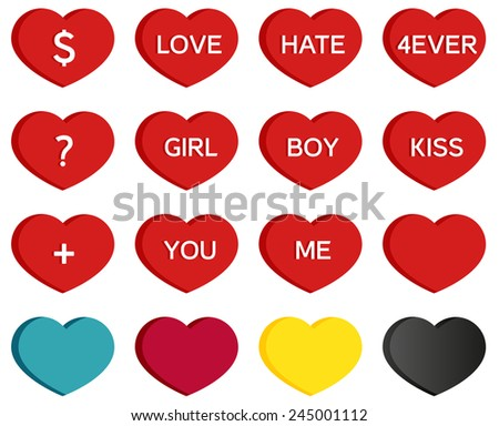 set of 16 heart icons with
