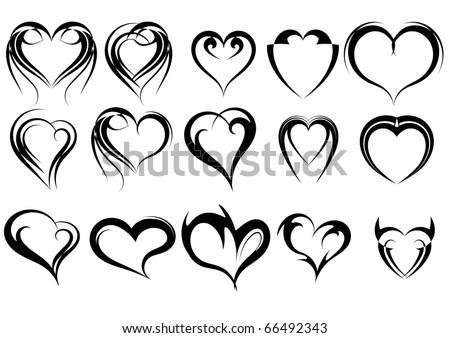 set of heart shape tattoos