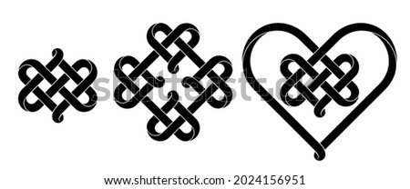 Set of heart signs made of intertwined mobius stripes as celtic knots. Stylized symbols of endless love for tattoo design. Vector illustration isolated on a white background. Stock foto ©