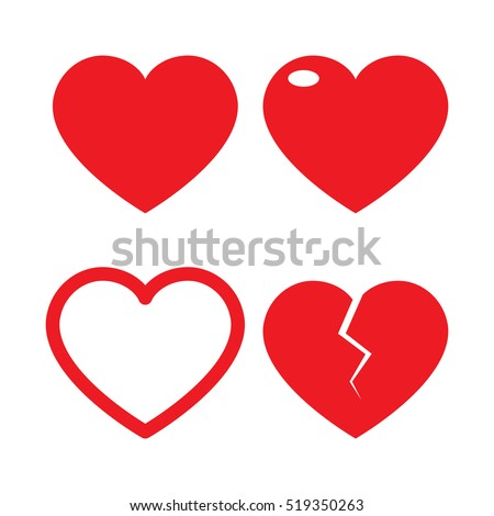 Set of heart vector