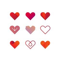 Set of heart vector logo. Line art, gradient and flat design templates