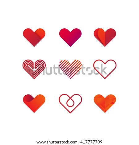 Set of heart vector logo. Line art, gradient and flat design templates