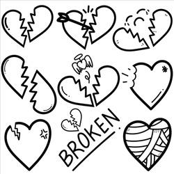 Set of heartbreak doodle.Vector ilustration.