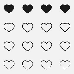 Set of hearts black and white vector icon.