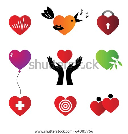 Set of hearts - characters. Vector.