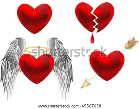 Set of hearts design. All elements and textures are individual objects. Vector illustration scale to any size.