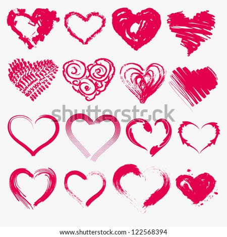 Set of hearts for valentines on a white background