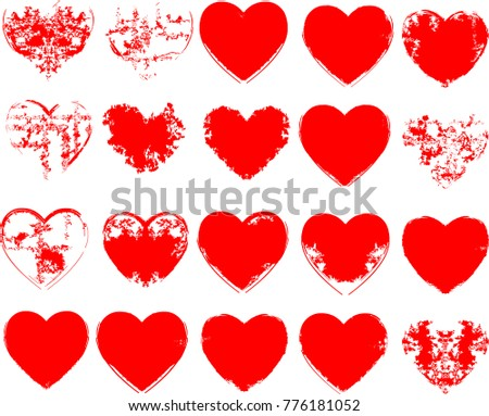 Set Of Hearts . Grunge Stamps Collection. Love Shapes For Your Design.  Distressed Symbols