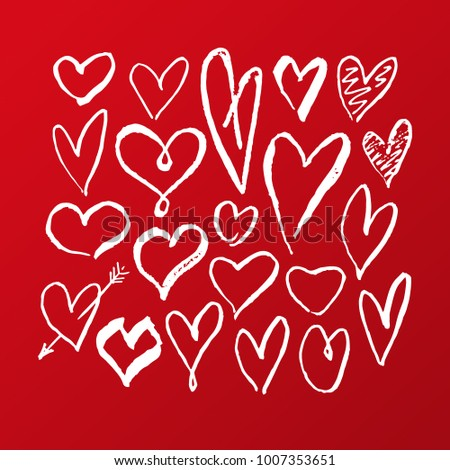 Set Of Hearts Hand Draw Valentines Day Signs Of Love Vector