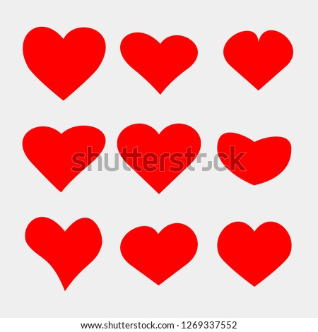 Set of hearts icons. Stock vector illustration. EPS10
