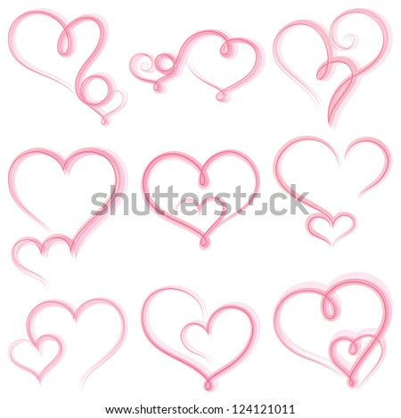 Set of  hearts on white background.Vector