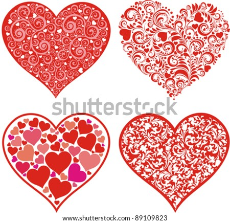 Valentine Hearts Pattern Set - Download Free Vector Art, Stock ...