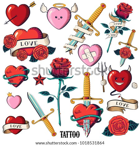 Set of hearts, roses and knifes. Isolated tattoo hearts: Devil, angel, heart with arrow, with ribbon and the inscription - love. Rose with ribbon. Old School Tattooing Style Ink Heart.