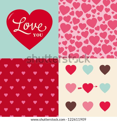 set of hearts seamless pattern background, ideal for celebrations, holidays, wedding and valentines day